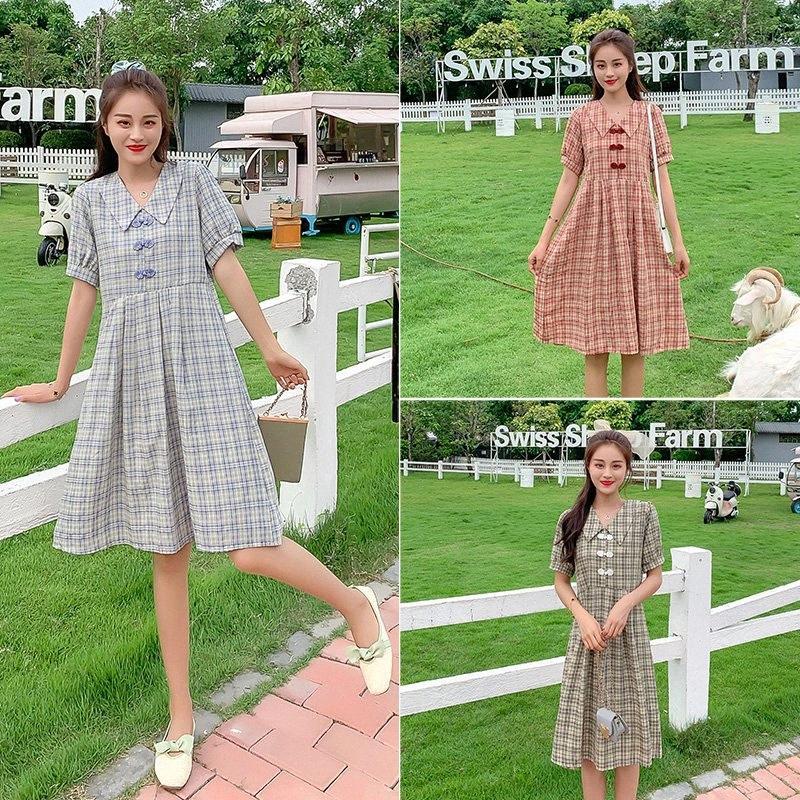 9038 # Материнство летнее платье плед хлопка с коротким рукавом Свободные Стильное платье для беременных мам 0I0n #