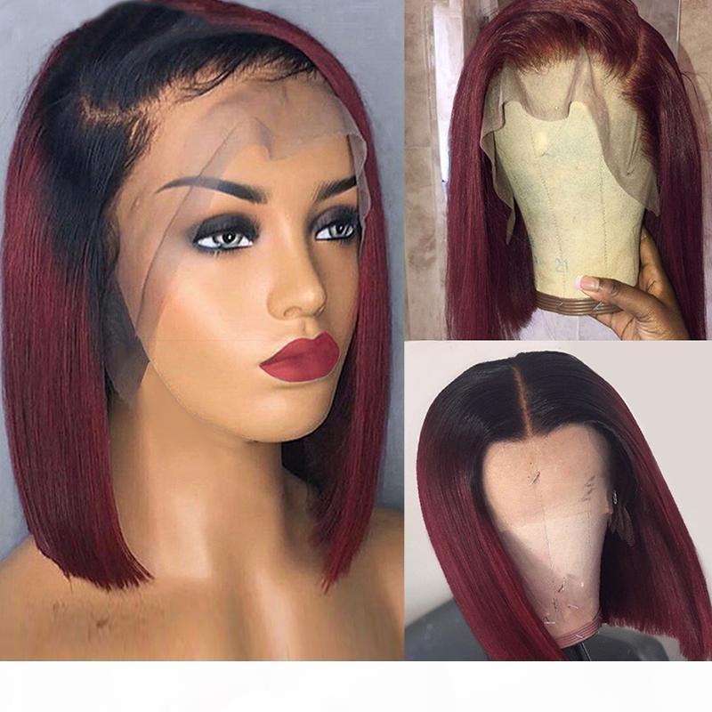 Dilys 13x4 прямой бордовый боб кружевной фронт парик бразильских волос человеческих волос передние парики предварительно сорванные 150% плотность 10-14 дюймов