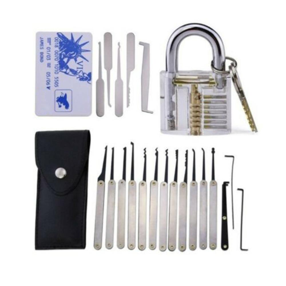 24 조각 고소 잠금 따기 도구 세트 잠금 장치 연습 잠금 선택 도구 세트 투명 자물쇠 신용 카드 잠금 선택 세트