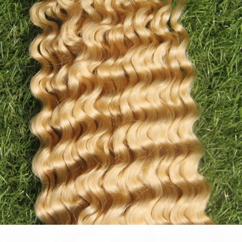 La onda profunda de la Virgen que teje el 100% de la armadura del pelo humano 10-30 Inchs brasileña # 613 Bleach Rubio Color de la extensión del pelo