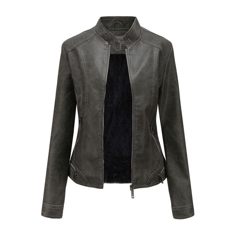 Automne et hiver Veste velours plus Femmes Solid Color Casual Retro solide en cuir de couleur femmes Vêtements Slim femmes en cuir