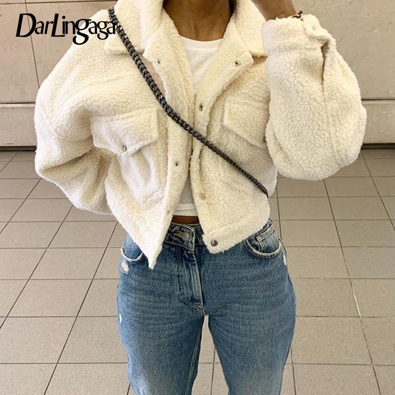 Darlingaga Moda Kuzu Yün Sonbahar Kış Ceket Kadın Ceket Polar Shaggy Sıcak Kırpılmış Ceketler Palto Tek Göğüslü Dış Giyim 201023