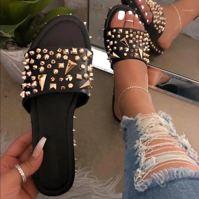 الصيف النساء النعال الأزياء برشام حجر الراين أحذية امرأة مفتوحة تو النعال المسطحة الإناث عارضة الشاطئ الشرائح السيدات 20201