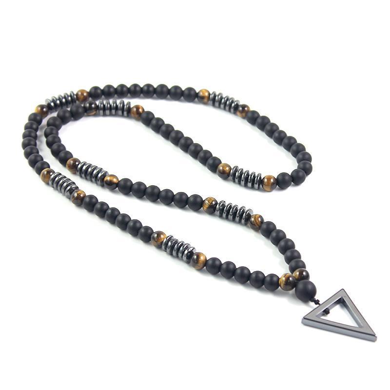 Anhänger Halsketten 2021 Design 8mm Tigerauge Stein Matte Schwarz Lange Halskette Hämatit Dreieck Herrenschmucksachen