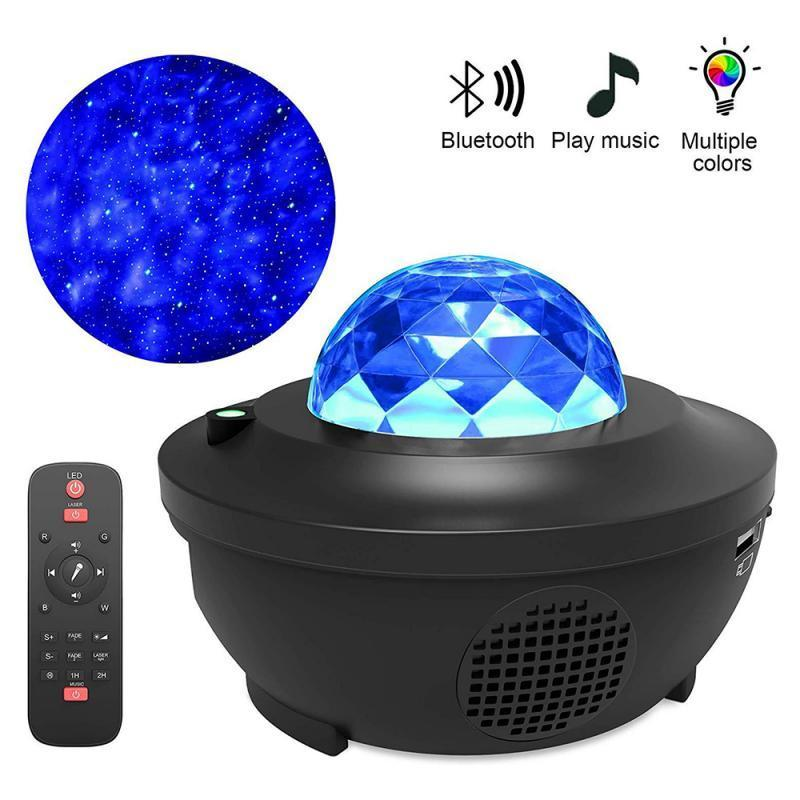 Water Wave LED Projector Light Blueteeth Music Player LED Night Light Projection Lamp Birthday Gift Music Star Projection