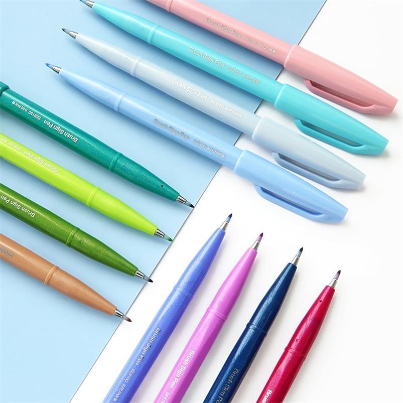 12 UNIDS / SET PENTEL NUEVO Cepillo Color Marcador Pintura de Pintura Arte Scrapbooking Suplementos Escuela Papelería Venta al por mayor 201222