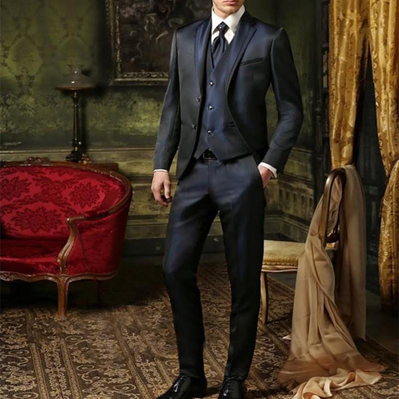 Blue mens Wedding suits 2020 notched Lapel men suit tuxedos wedding suits for men two button groom (Jacket+Pants+vest)