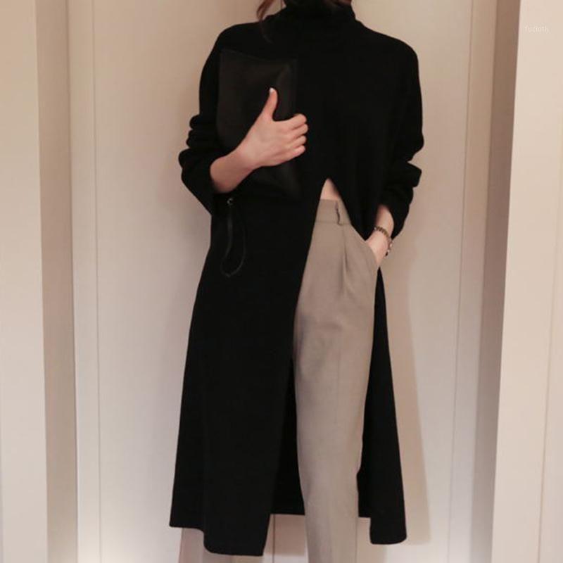 Split Sweater Long Women Turtleneck Punto de invierno Puente de invierno Coreano Harajuku Elegante Jerseys Casual Ropa Cálida Flojo 2020 V7261