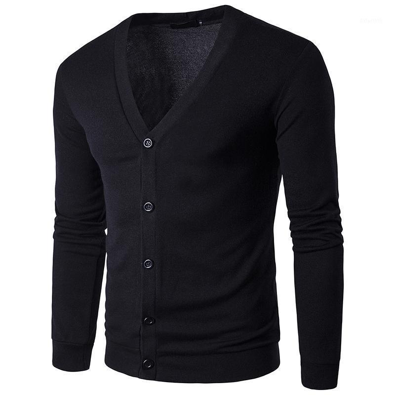 Dropshipping мода осень сплошной цвет мужские свитера высокого качества V-образным вырезом тонкий кардиган повседневное пальто мужчины свитер трикотаж1