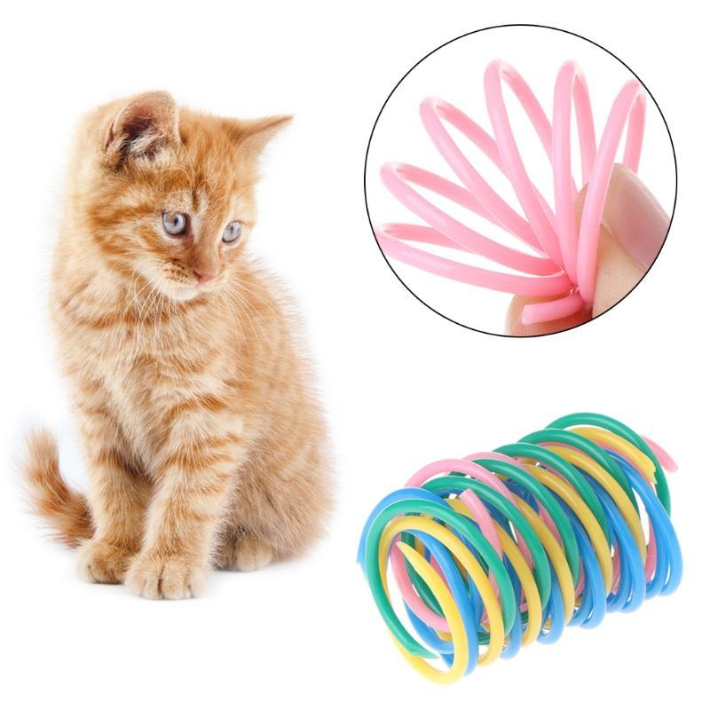 5pcs Cat Toys Colorful Spring Plastic Bounce Pet Random Color Wide Gauge Heavy