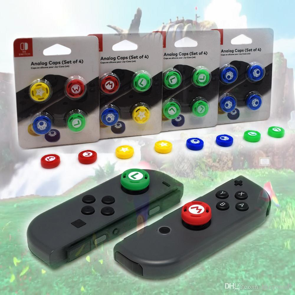 4pcs/Set Switch 3D Analog Joystick Caps for N- Switch NS Silicone Cap Thumbstick Grip Gamepad for Joy-con