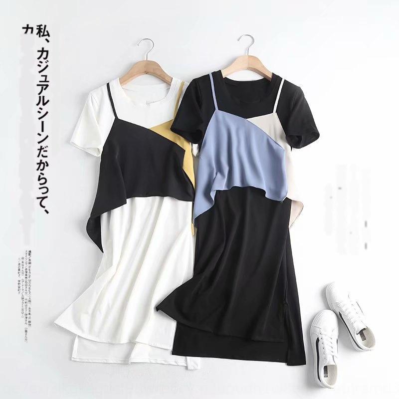 vestito da estate 2020 nuovo collo rotondo falso due pezzi di contrasto delle donne sq5ov M7767 coreano che cuce il vestito manica corta NTiwh