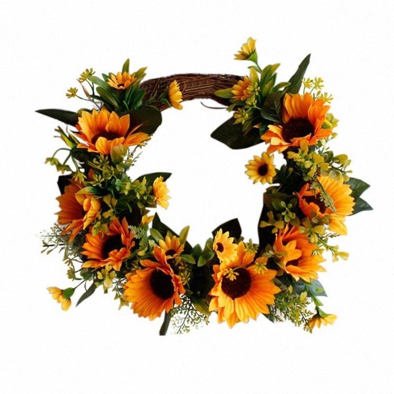 Dekorative künstliche Sonnenblume Rattan Runde Garland mit grünen Blättern Hochzeit Girlande Haustür Fenster-Wand-Dekoration HX2F #