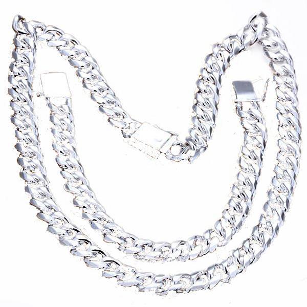 مجموعات مجوهرات رجالية عالية الجودة قلادات أنيقة + أساور 925 فضة 1 + 1 سلسلة فيجارو