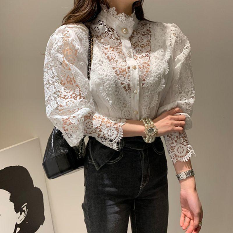 Chic Женщины шнурка отвесное Блуза офис леди длинным рукавом рубашки блузка белая рубашка Мода Женщины блузка 201028