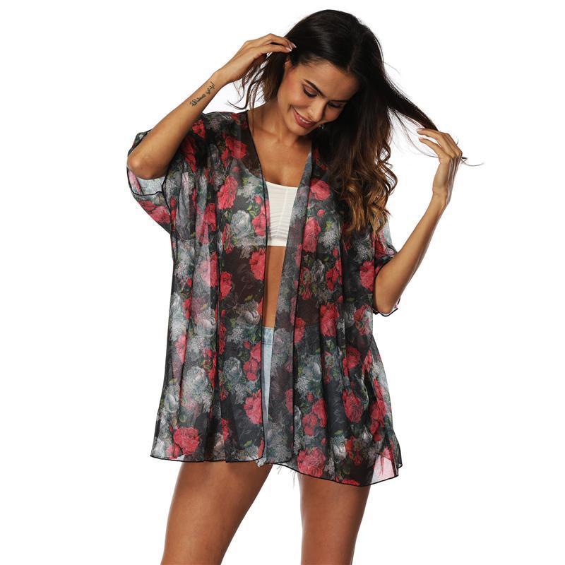 Damenbadbekleidung Strand Tunika Frauen 2021 Kleider Badeanzüge Tusche up Sommer Ausflug Blumenbedruckte Kleidung Damenmode