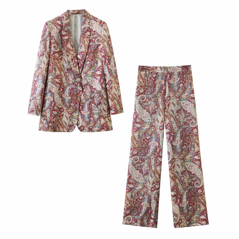 2021 Yeni Vintage Kadın Çiçek Takım Elbise Güz Moda Zarif Bayanlar Kadınlar Rahat Suit Chic Blazer Kızlar İki Parçalı Set Uuke