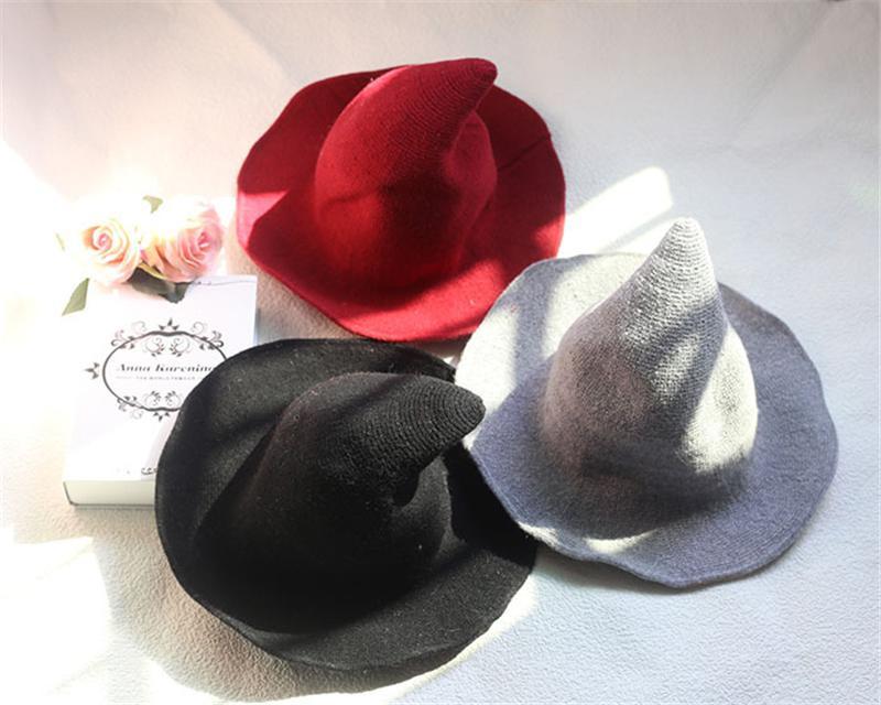 Assistant Halloween Automne Hiver Hiver chaud Chapeau Peaked Automne Hiver Chapeau tissé laine Hat 6 couleurs Mode OOC2769