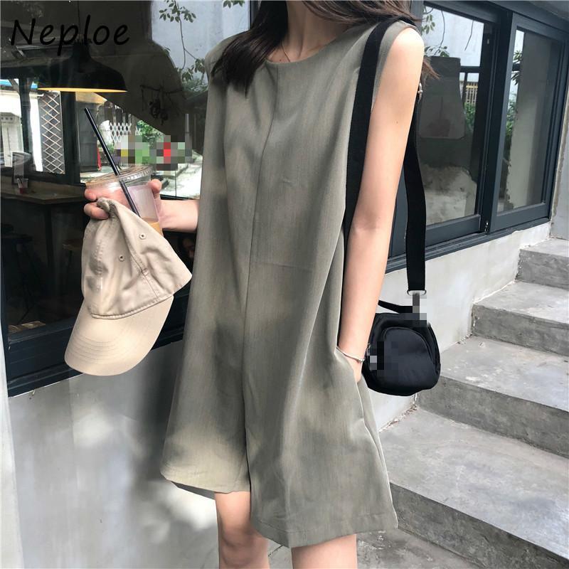 Neploe Macacões Mulheres verão 2020 coreano O Neck mangas Ladies fatos para brincar elegante Lace Up Magro cintura larga Leg Bodysuits 1E068