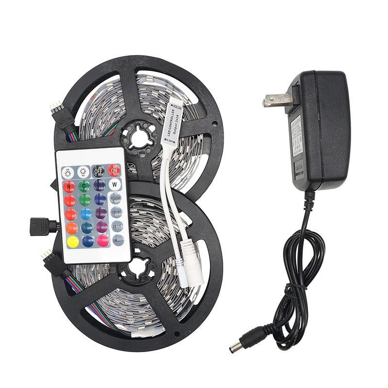 Eyoumy RGB LED Faixa de Luz 5050 5M 10M IP20 LED LEDs RGB Fita Led fita flexível Mini IR Controlador DC12V adaptador Set