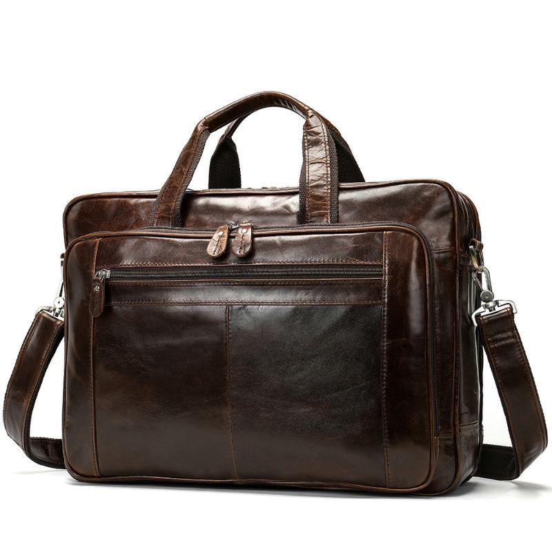 Genuine Leather Men Briefcase Messenger Bags Business Travel Bag 14'' / 15.6'' / 17'' Laptop Handbag Shoulder bag