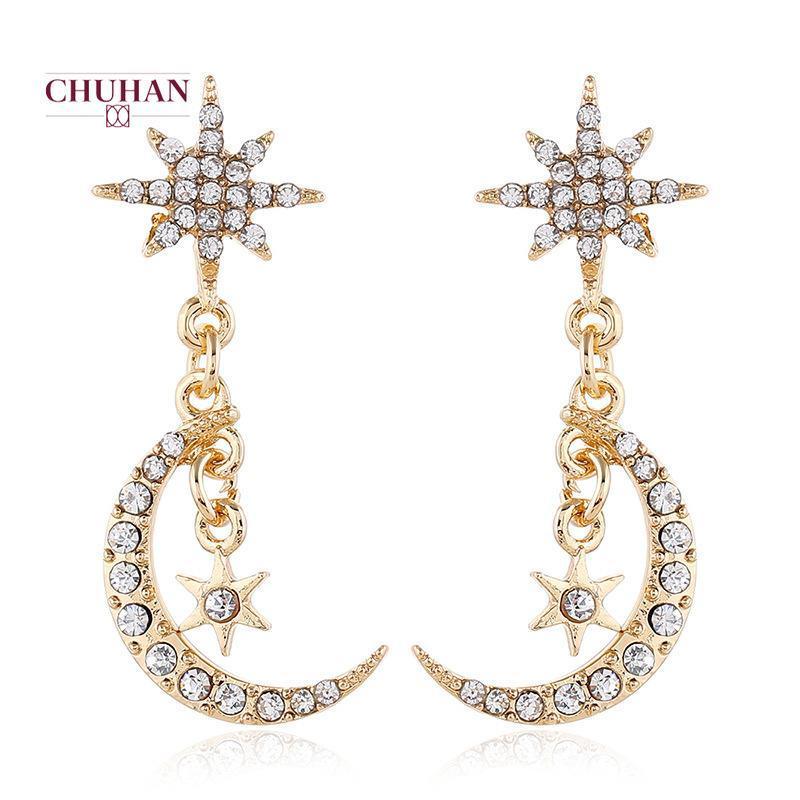 J27 joyería hecha a mano Pendientes Chuhan Boho Pendientes de las mujeres largas de la moda de la luna Partido Pendientes mujer de cristal de boda
