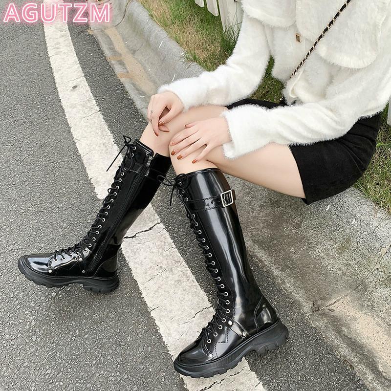 2020 mulheres sapatos mulheres chegada botas longas rendas até botas de inverno saltos quadrados de plataforma sapatos senhoras punk fresco Nu