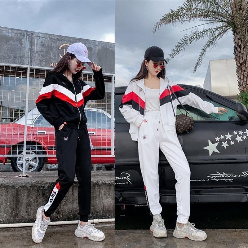 dWXv8 Western спортивного костюма женского весеннего свитера zipperzipper костюм и осенью одежды 2019 новый стиль мода случайного свитера из двух частей цзы