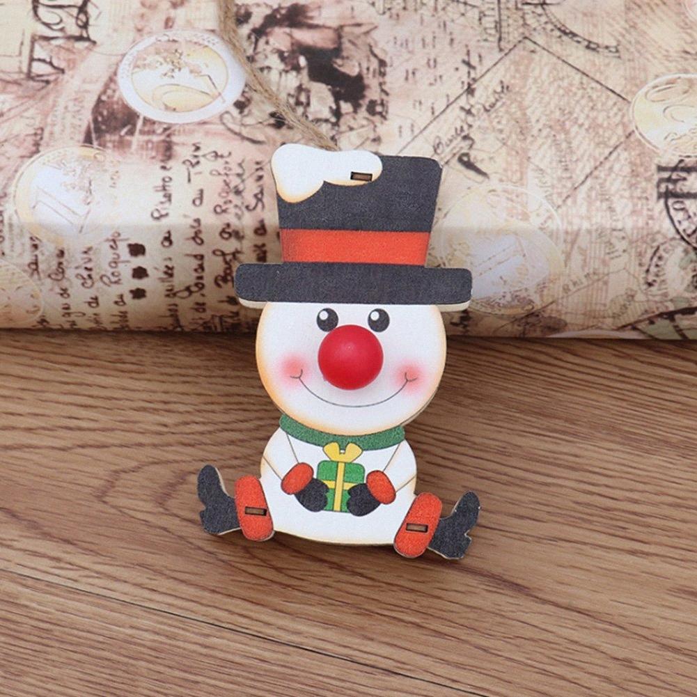 Artisanat enfants cadeau décoratif Props Ornement Festival de la main en bois alimenté par batterie Hanging lumineux Pendentif Arbre de Noël pLSQ #