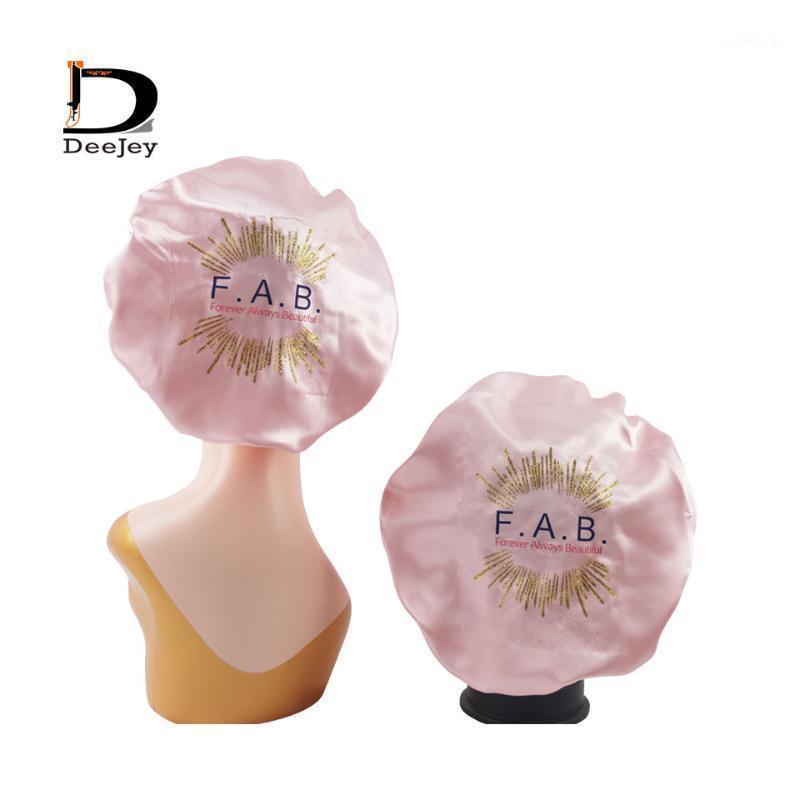 Motorhauben für Frauen Großhandel Designer Nachtschlaf Cap Satin elastische Hut für Haarpflege Passen Sie doppelte Schicht benutzerdefinierte Logo-Bonnete an