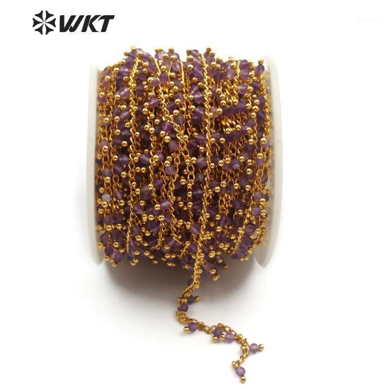 WT-RBC087 Alambre de latón envuelto Púrpura Cristal Rosario Cadena al Por Mayor 5Meter Cadena de cuentas hecha a mano para las mujeres que hacen joyería de moda1