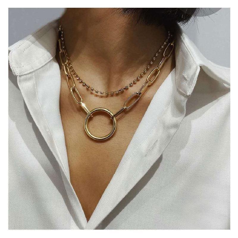 Einfache Legierung Ring Anhänger Doppel Diamant Halskette Schmuckkette Halsketten