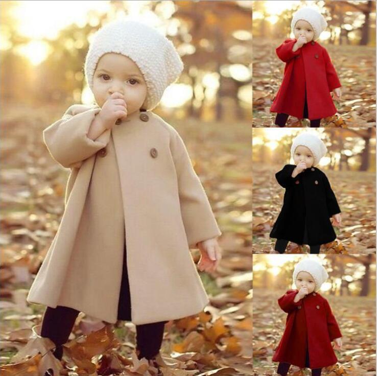 Baby-Designer-Kleidung IN Knopf Staub Tench Mantel-Winter-Baby-Fest Poncho Outwear langen Hülsen-Jacke Mode Prinzessin Umhang LSK1738