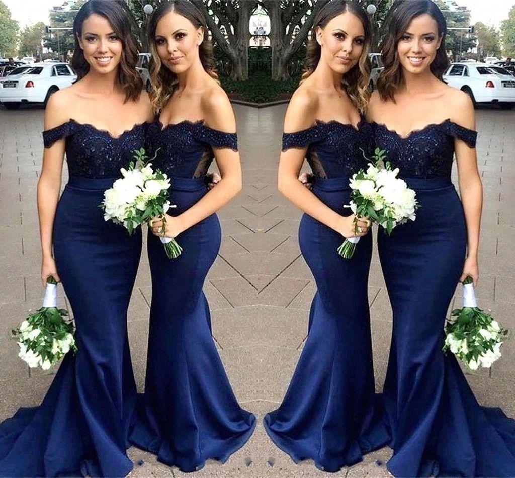 エレガントなブルーマーメイドの花嫁介添人ドレスレースアップリケオフショルダープリーツ名誉ガウンウェディングゲストパーティーイブニングドレス