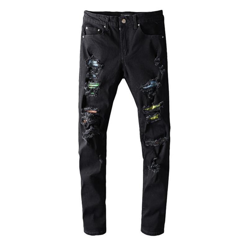 Yüksek Kaliteli Erkek Kot # 648 Sıkıntılı Motosiklet Biker Kot Ince Yırtık Delik Şerit Ünlü Denim Erkekler Pantolon Jeans