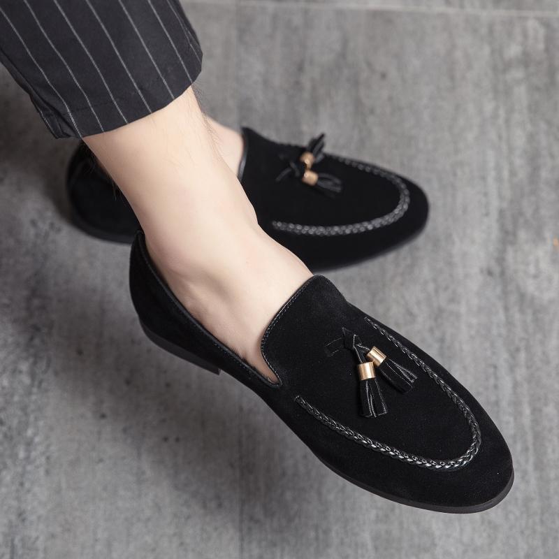 2021 мужских платья обуви нубук кожи дышащей черная кисточка Формальных бизнес Брога Groom обувь 497