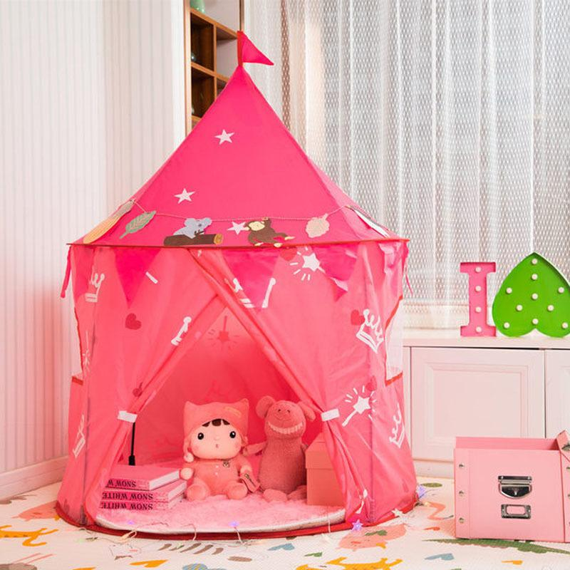 Children Princess Castle Play Tent Kids Game Tent House Portable Playtent Toys for Baby Indoor Outdoor Play House Toys Pink Tent 1020