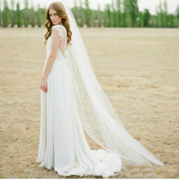 2020 Yüksek Kalite Sıcak Satış Fildişi Beyaz İki Metre Uzun Tül Düğün Aksesuarları Gelin Veils ile Tarak