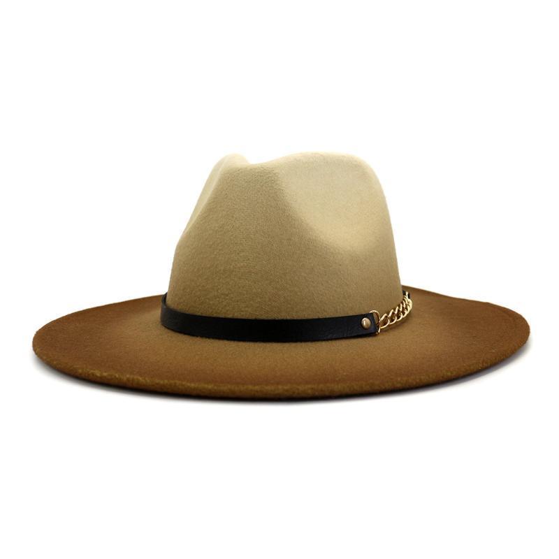 2020 Yeni Geliş Moda Retro Fedoras En Caz Siyah Kuşak 58cm Geniş Brim şapka Gradient Renk Yaz Bowler Şapkalar Keçe