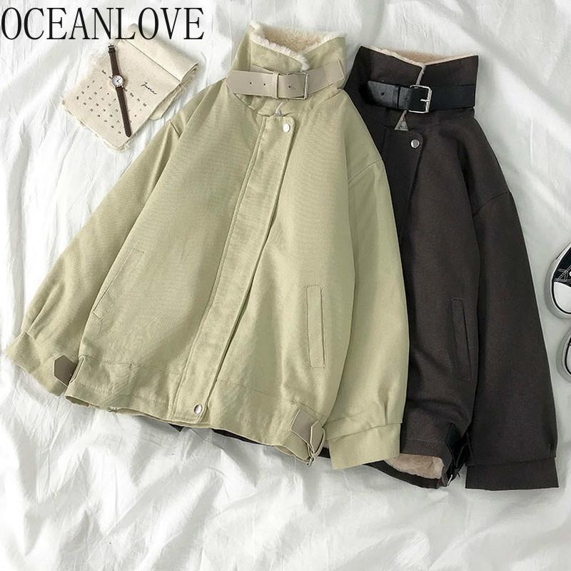 OceanLove Winter Roupas Mulheres Paraks Sólido Vintage Zipper Grosso Cordeiro Lã Jaquetas Quentes Abrigos Mujer Invierno Casaco 18920