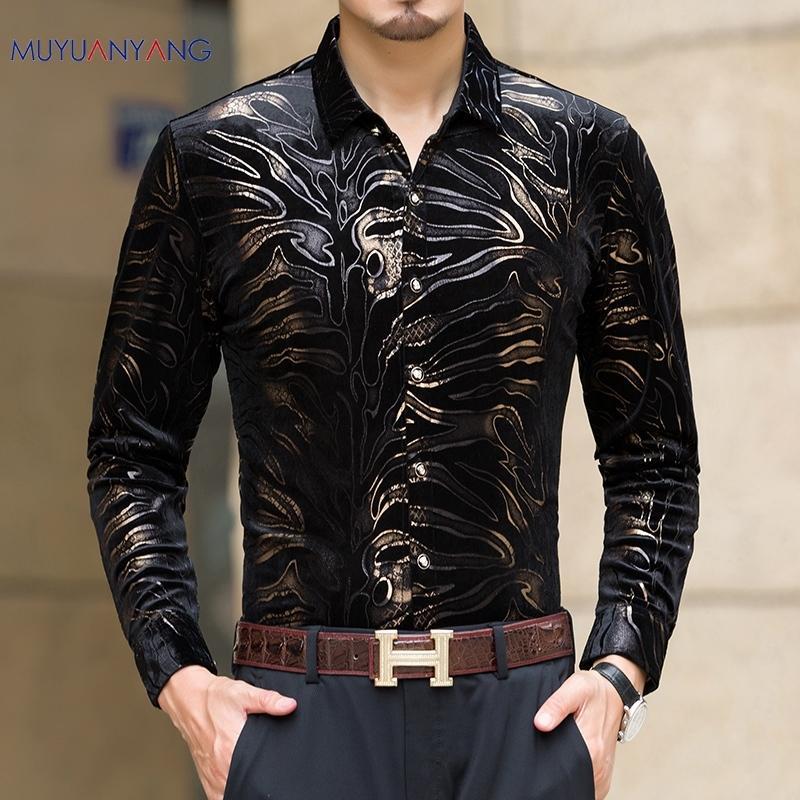 Mu Yuan Yang Новые повседневные мужские длинные рукава на одной груди с высоким качеством рубашки Slim Fit Мужская рубашка 50% скидка на большой размер 3XL Y200104
