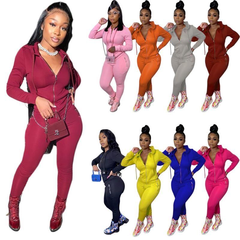 Kadın Eşofman 2 Parça Kıyafetler 2020 Casual Uzun Kollu Ön Fermuar Hoodie Kazak Pantolon Cep Zip Spor Ile Spor