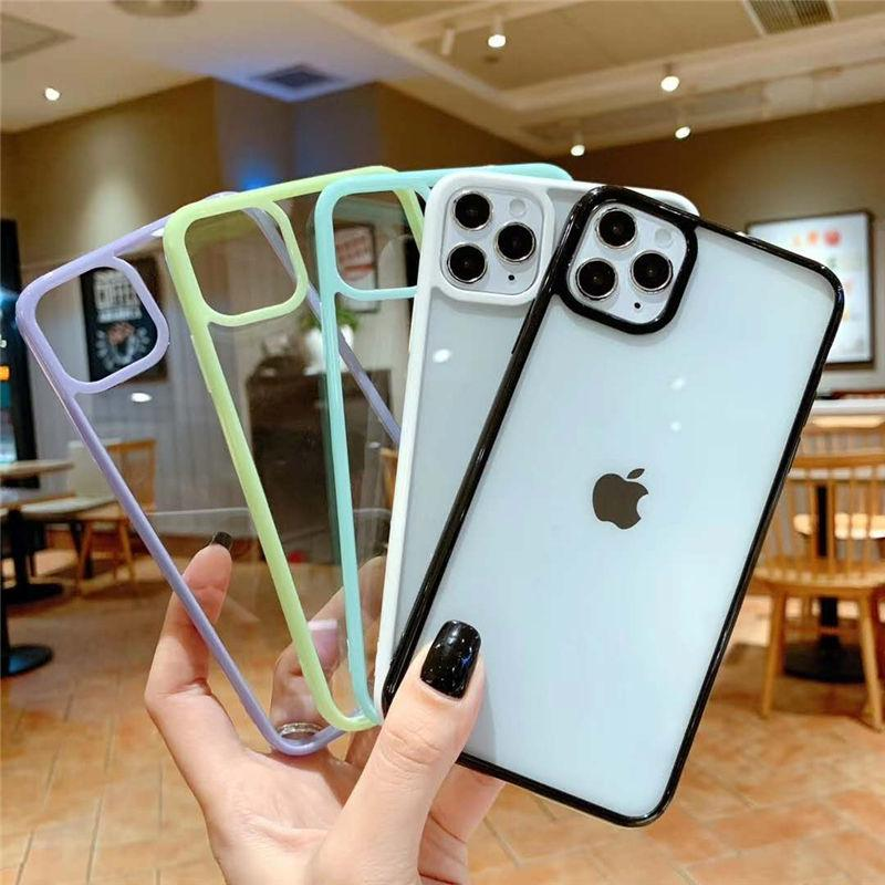 Shockproof Candy Color Bumper Phone Case For iPhone 12 SE 2020 11 11Pro Max XR XS Max X 7 8 Plus 11Pro Transparent Soft Acrylic