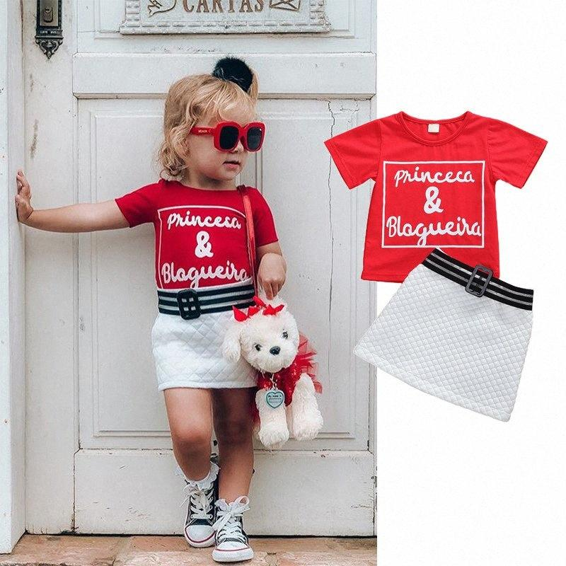 0-4 Year Fashion Summer Kid Baby Girls 2Pcs Clothes Sets Short Sleeve Letter Tops + Mini Skirts Outfits SH67#