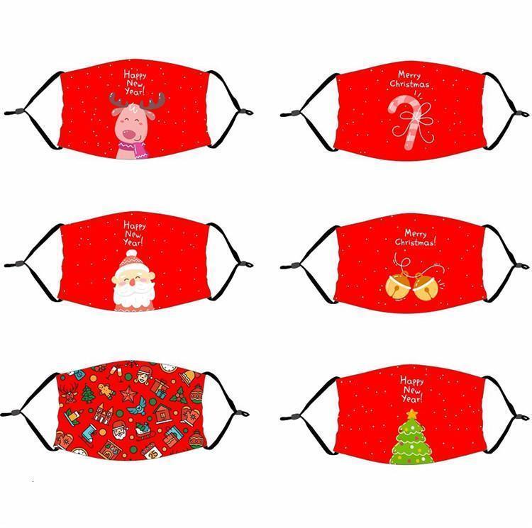 Filtreler ile Stok Çocuk Bize Parti Kırmızı Noel Noel Yüz Maskeleri Anti Toz Desen Baskılı Ağız Kapak Yıkanabilir Yeniden kullanılabilir
