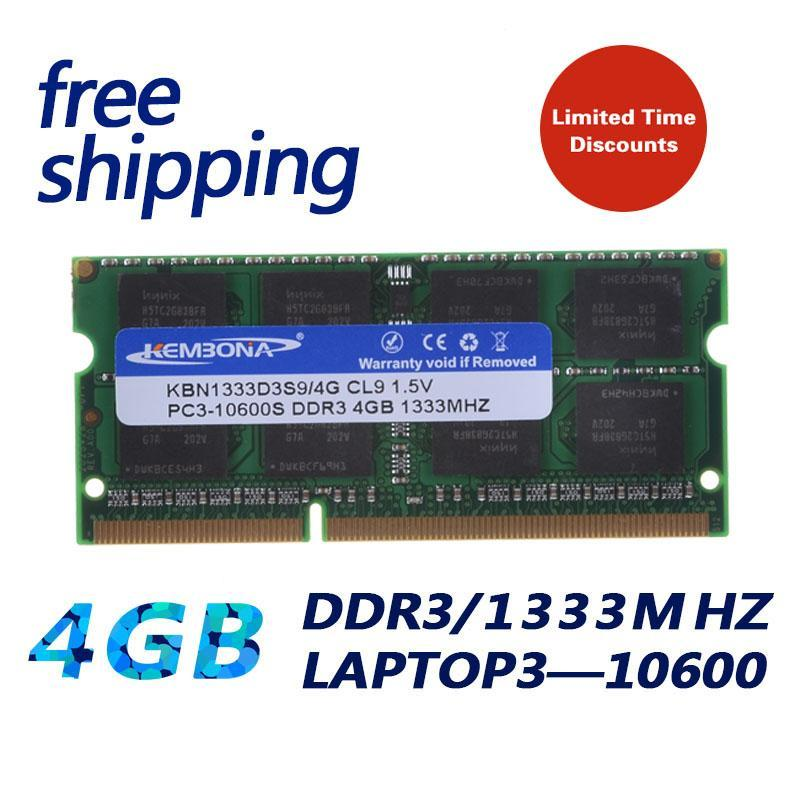 KEMBONA Brand New Sealed Laptop RAM Memory DDR3 1333 / PC3 10600 4GB compatible with all motherboard / Free Shipping!!!