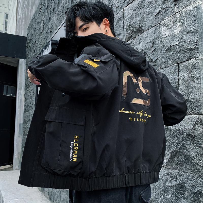 2020 Nouvelle Automne Hiver Veste à capuche Homme Streetwear non capuche amovible Hommes vestes coupe-vent Mode Homme Outwear