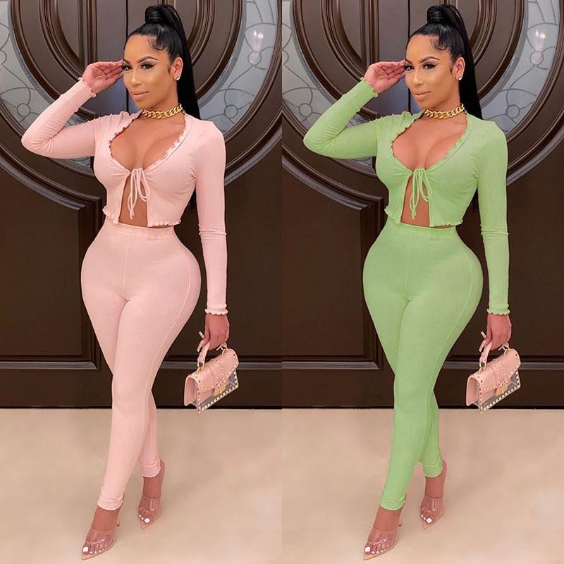 Les femmes élégantes automne encolure en V 2 Piece Set 2020 à manches longues ouvert Point Low Cut Lace-up T-shirt Tops taille haute Pantalons longs