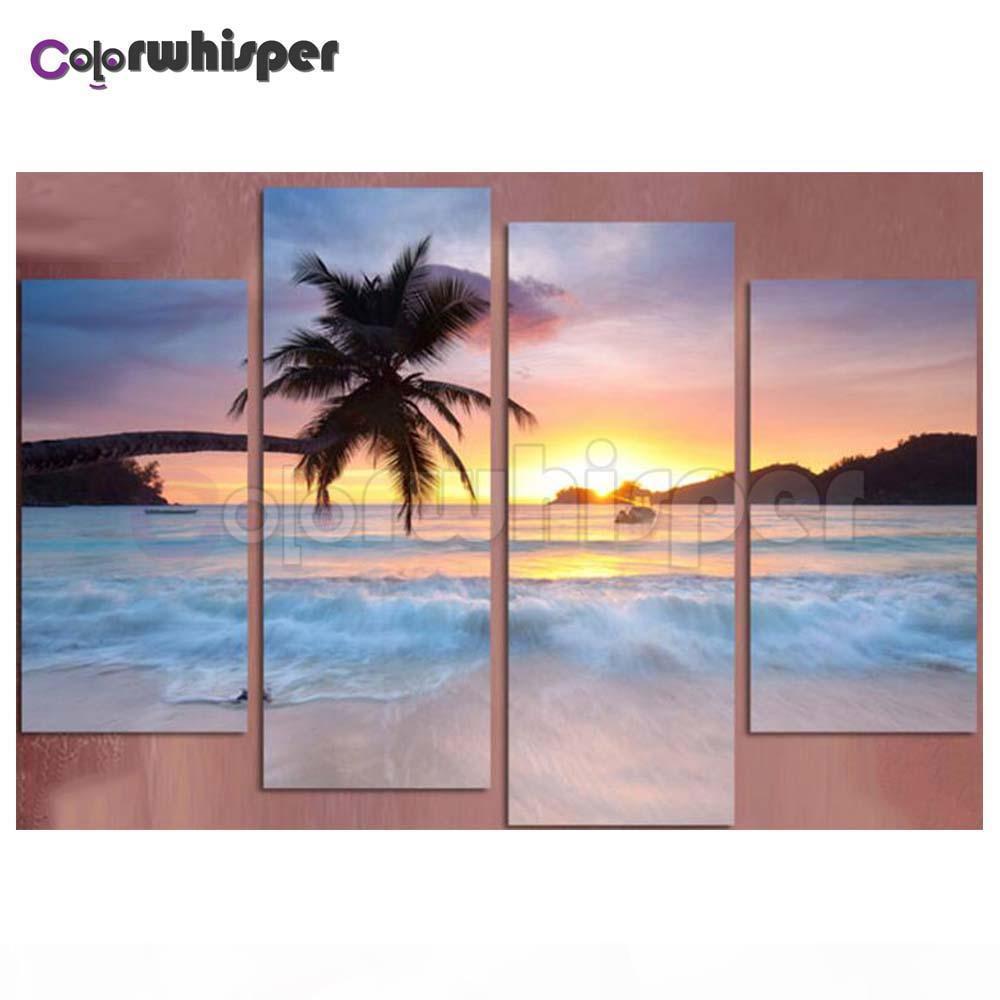 4шт Алмазной Картины Полных площадей Круглого Drill Море Sunset Beach 5D DAIMOND Картина Вышивка крест стежок Мозаика Z294