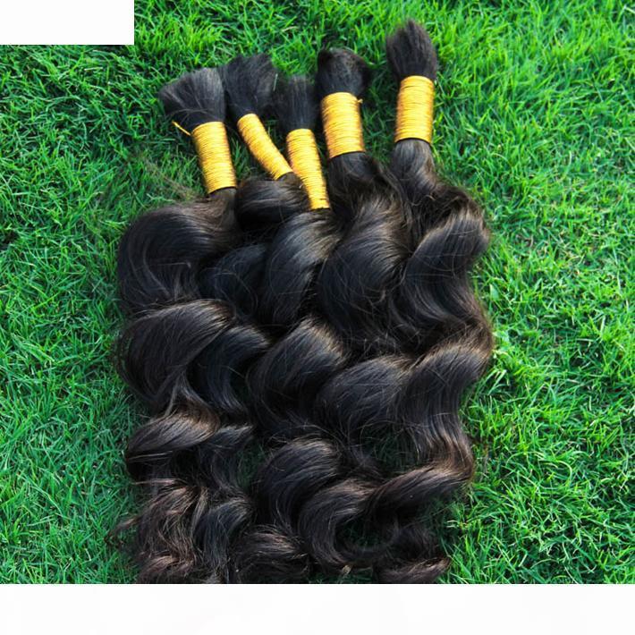 Cheveux humains N ° de trame Meilleur Péruvien Loose Wave Cheveux 3 Bundles Extensions de cheveux Humains Curly pour Micro tresses Mulks bon marché